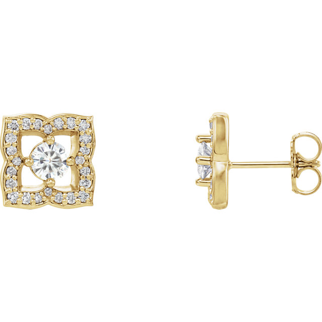 Perfect Gift Idea in 14 Karat Yellow Gold 4mm Round Genuine Charles Colvard Forever One Moissanite & 0.33 Carat Total Weight Diamond Earrings