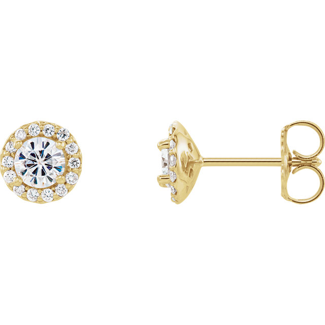 Great Deal in 14 Karat Yellow Gold 4mm Round Genuine Charles Colvard Forever One Moissanite and 0.12 Carat Total Weight Diamond Earrings