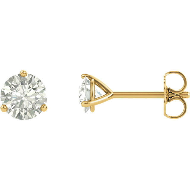 Wonderful 14 Karat Yellow Gold 4mm Round Genuine Charles Colvard Forever One Moissanite Earrings