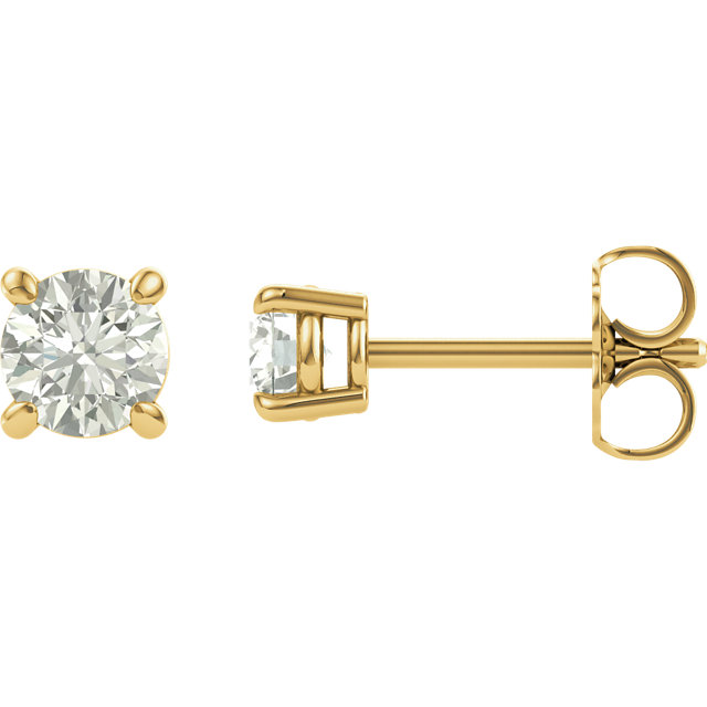 Easy Gift in 14 Karat Yellow Gold 4mm Round Genuine Charles Colvard Forever One Moissanite Earrings