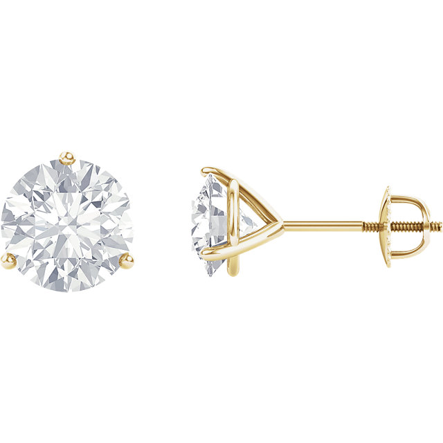 Contemporary 14 Karat Yellow Gold 4mm Round Genuine Charles Colvard Forever One Moissanite Earrings