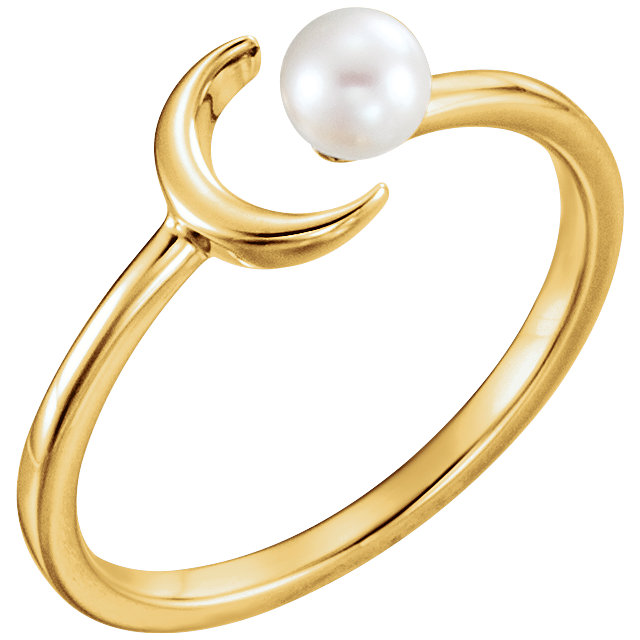 Appealing Jewelry in 14 Karat Yellow Gold 4mm White Freshwater Pearl Crescent Ring