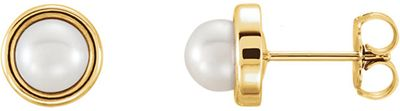 Gorgeous 14 Karat Yellow Gold 5.5-6mm Freshwater Cultured Pearl Earrings
