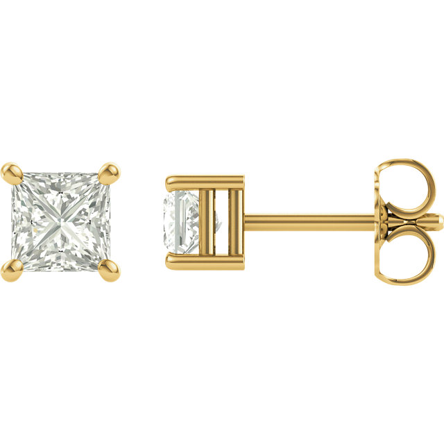 Perfect Gift Idea in 14 Karat Yellow Gold 5.5mm Square Genuine Charles Colvard Forever One Moissanite Earrings