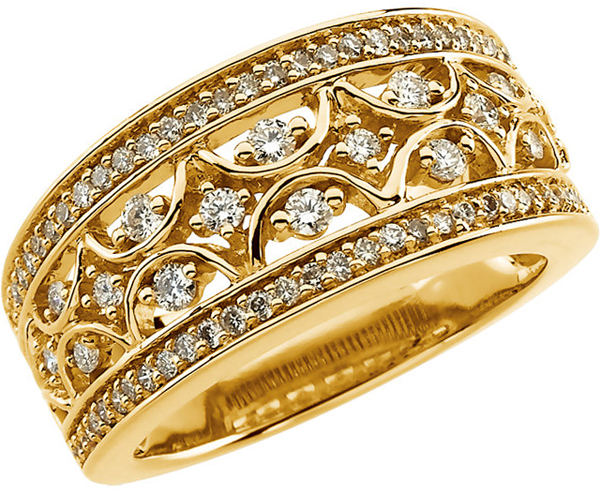 14 Karat Yellow Gold 5/8 Carat Total Weight Diamond Band Size 10