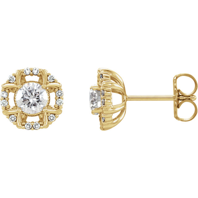 Must See 14 Karat Yellow Gold 0.60 Carat Total Weight Diamond Earrings