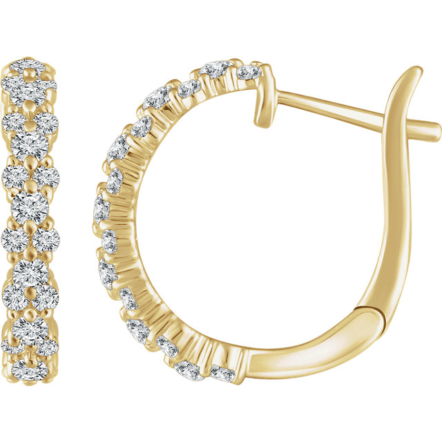 Wonderful 14 Karat Yellow Gold 0.60 Carat Total Weight Diamond Hoop Earrings