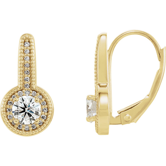 Easy Gift in 14 Karat Yellow Gold 0.60 Carat Total Weight Diamond Milgrain Halo-Style Dangle Earrings