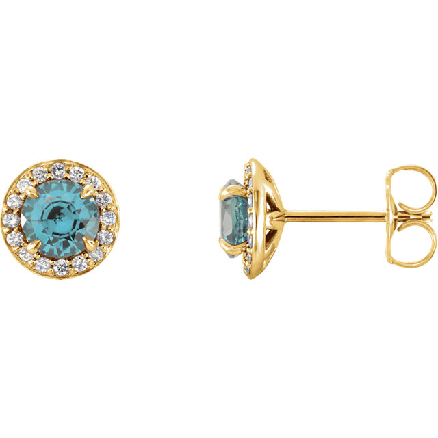 Wonderful 14 Karat Yellow Gold 5mm Round Aquamarine & 0.17 Carat Total Weight Diamond Earrings
