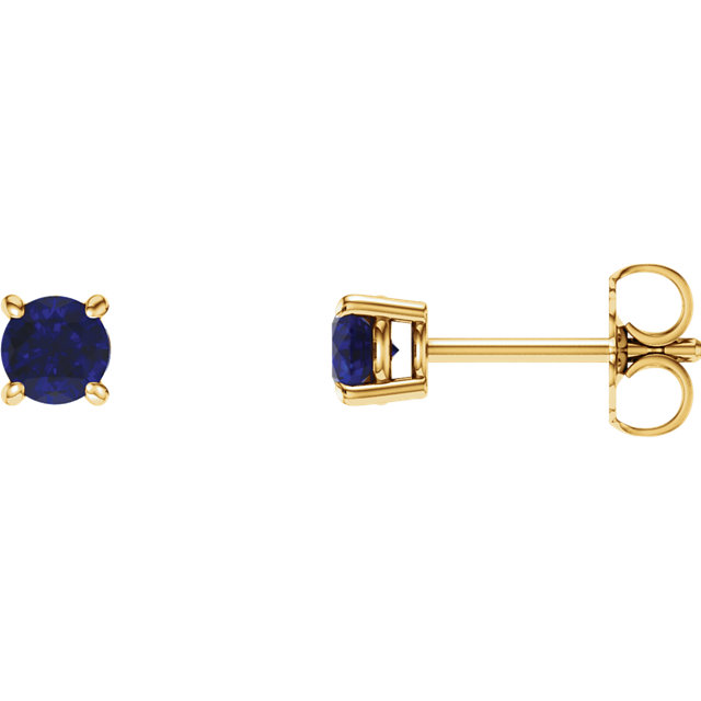Fine Quality 14 Karat Yellow Gold 5mm Round Genuine Chatham Created Created Blue Sapphire Earrings