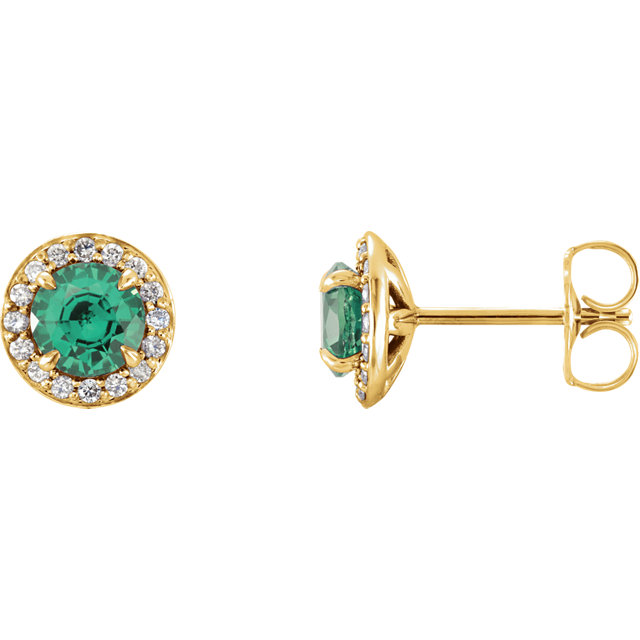 Great Deal in 14 Karat Yellow Gold 5mm Round Genuine Chatham Created Created Emerald & 0.17 Carat Total Weight Diamond Earrings