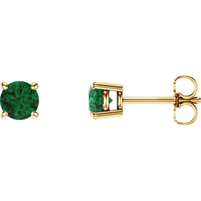 Contemporary 14 Karat Yellow Gold 5mm Round Genuine Chatham Created Created Emerald Earrings
