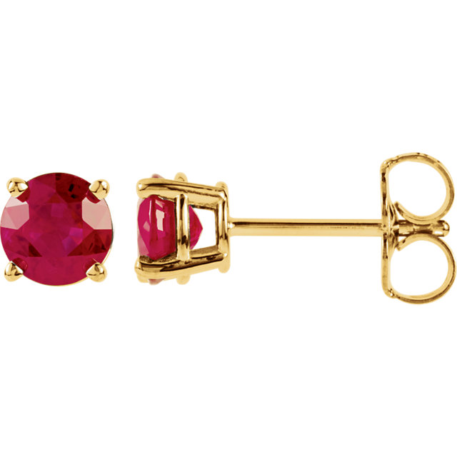 Easy Gift in 14 Karat Yellow Gold 5mm Round Genuine Chatham Created Created Ruby Earrings
