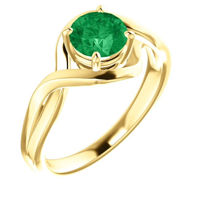 Eye Catchy 14 Karat Yellow Gold Genuine Chatham Created Lab-Grown Emerald Ring