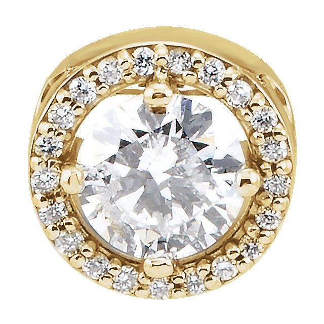 Contemporary 14 Karat Yellow Gold 5mm Round Forever One™ Moissanite & .06 Carat Total Weight Diamond 16-18