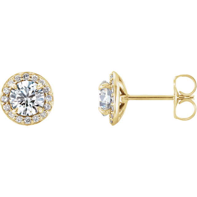 Perfect Jewelry Gift 14 Karat Yellow Gold 5mm Round Genuine Charles Colvard Forever One Moissanite & 0.12 Carat Total Weight Diamond Earrings