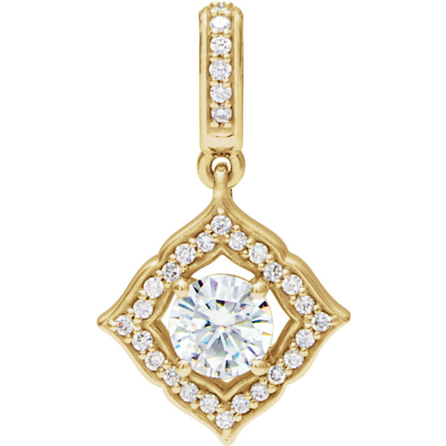 Wonderful 14 Karat Yellow Gold 5mm Round Forever One™ Moissanite & 0.12 Carat Total Weight Diamond Pendant