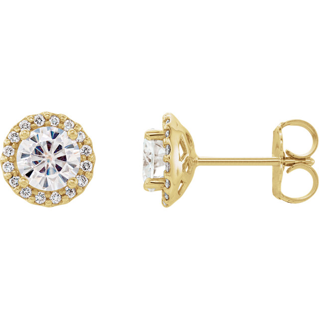 Surprise Her with  14 Karat Yellow Gold 5mm Round Genuine Charles Colvard Forever One Moissanite and 0.12 Carat Total Weight Diamond Earrings