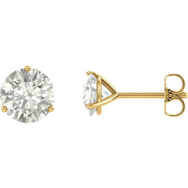 Beautiful 14 Karat Yellow Gold 5mm Round Genuine Charles Colvard Forever One Moissanite Earrings