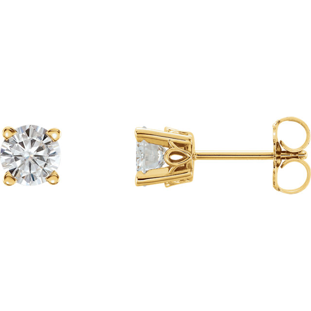 Very Nice 14 Karat Yellow Gold 5mm Round Genuine Charles Colvard Forever One Moissanite Earrings