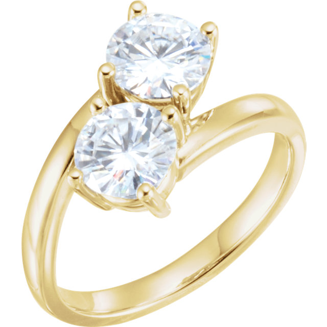 Must See 14 KT Yellow Gold 5mm Round Genuine Charles Colvard Forever One Moissanite Ring