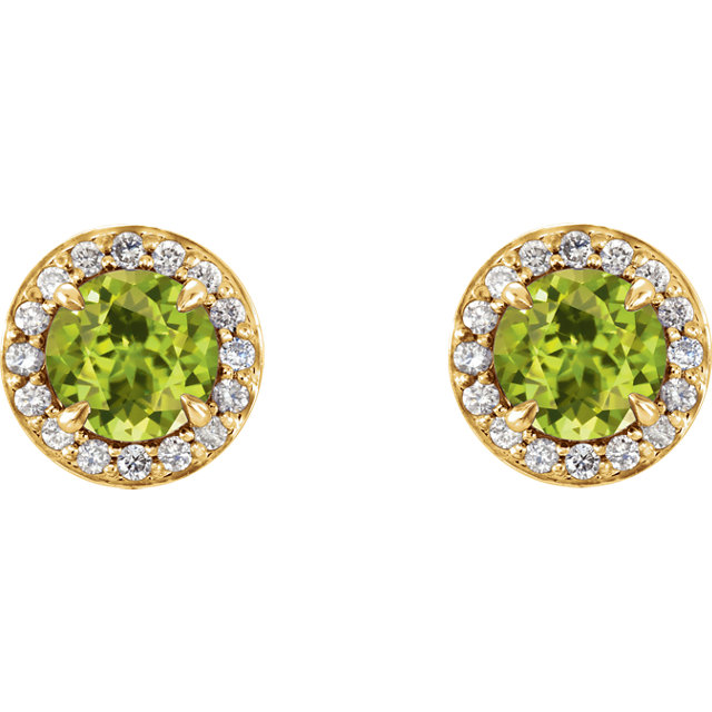 Excellent 14 Karat Yellow Gold 5mm Round Genuine Peridot & 1/6 Carat Total Weight Diamond Earrings