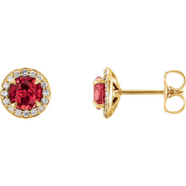 Low Price on 14 KT Yellow Gold 5mm Round Ruby & 0.17 Carat TW Diamond Earrings
