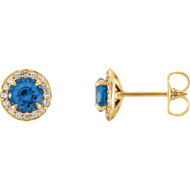 Fine Quality 14 Karat Yellow Gold 5mm Round Sapphire & 0.17 Carat Total Weight Diamond Earrings