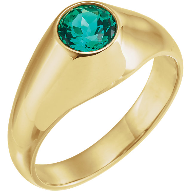 14 Karat Yellow Gold 6.5mm Round Genuine Chatham Emerald Ring