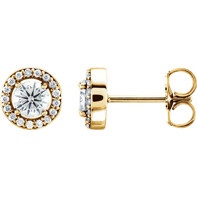 Must See 14 Karat Yellow Gold 6.5mm Round Genuine Charles Colvard Forever One Moissanite & .08 Carat Total Weight Diamond Earrings
