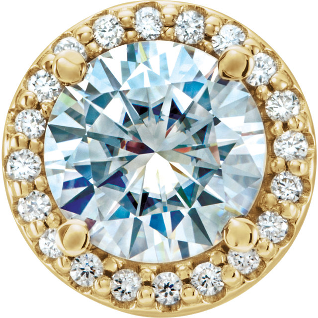 Great Gift in 14 Karat Yellow Gold 6.5mm Round Forever One™ Moissanite & .08 Carat Total Weight Diamond Pendant