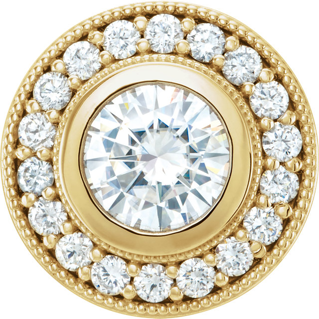 Chic 14 Karat Yellow Gold 6.5mm Round Genuine Charles Colvard Forever One Moissanite & 0.33 Carat Total Weight Diamond Pendant