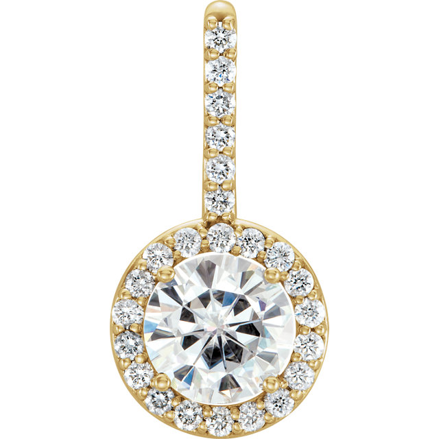 Stunning 14 Karat Yellow Gold 6.5mm Round Genuine Charles Colvard Forever One Moissanite & 0.25 Carat Total Weight Diamond Pendant