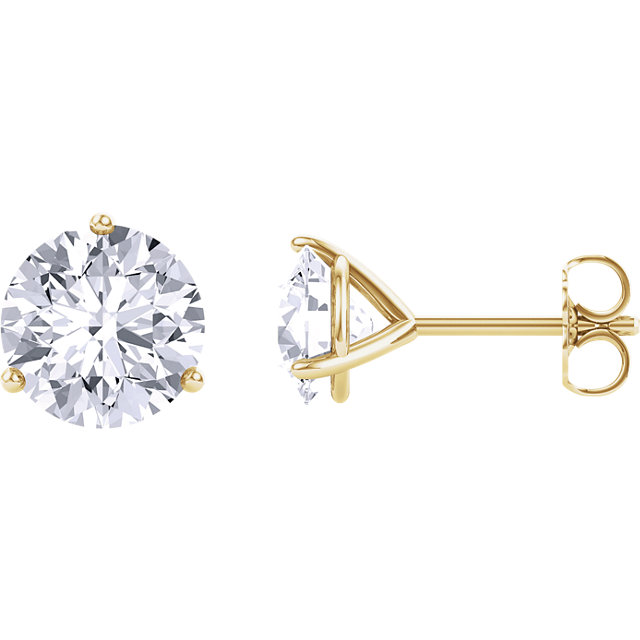 Contemporary 14 Karat Yellow Gold 6.5mm Round Genuine Charles Colvard Forever One Moissanite Earrings