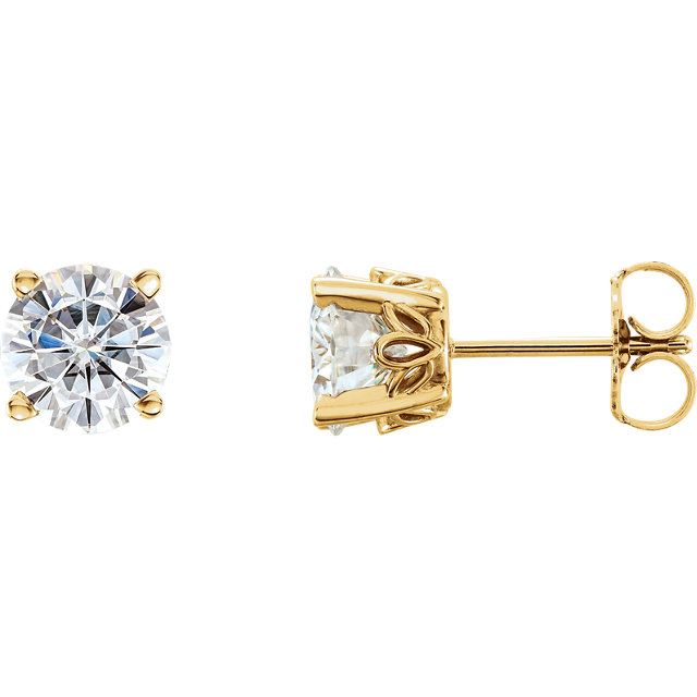 Perfect Gift Idea in 14 Karat Yellow Gold 6.5mm Round Genuine Charles Colvard Forever One Moissanite Earrings