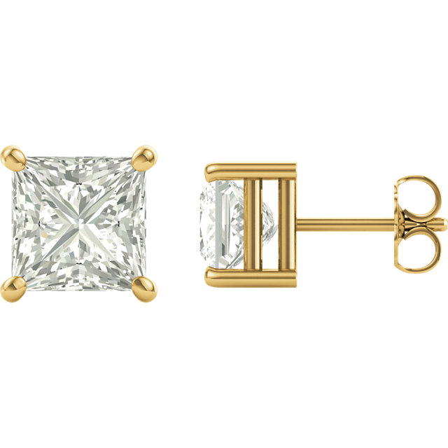 Surprise Her with  14 Karat Yellow Gold 6.5mm Square Genuine Charles Colvard Forever One Moissanite Earrings