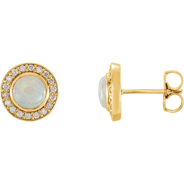 Must See 14 KT Yellow Gold 6mm Opal & 0.20 Carat TW Diamond Halo-Style Earrings