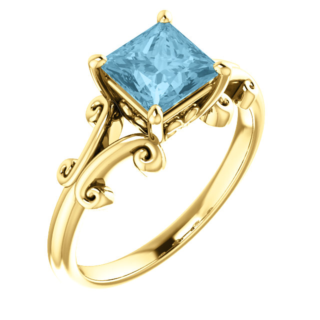 Wonderful 14 Karat Yellow Gold 6mm Round Aquamarine Ring