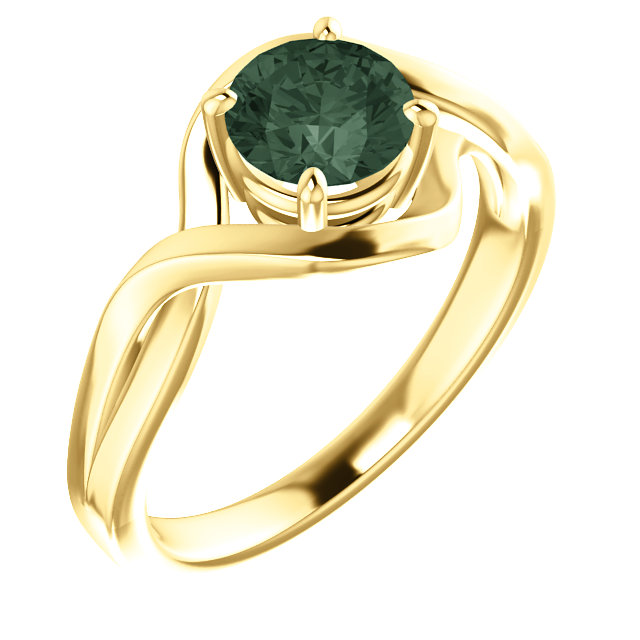 Contemporary 14 Karat Yellow Gold Genuine Chatham Created Lab-Grown Alexandrite Ring