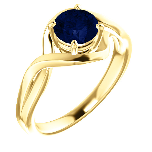 14 Karat Yellow Gold Genuine Chatham Lab-Grown Blue Sapphire Ring