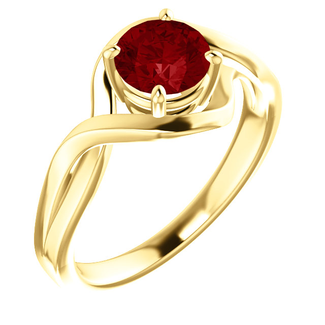 Beautiful 14 Karat Yellow Gold Genuine Chatham Created Lab-Grown Ruby Ring