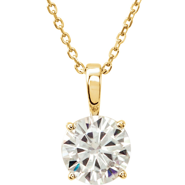 Surprise Her with  14 Karat Yellow Gold 6mm Round Genuine Charles Colvard Forever One Moissanite 18