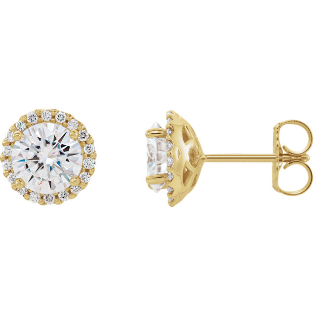 Very Nice 14 Karat Yellow Gold 6mm Round Genuine Charles Colvard Forever One Moissanite and 0.17 Carat Total Weight Diamond Earrings