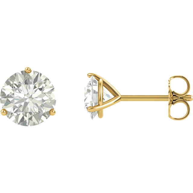 Eye Catchy 14 Karat Yellow Gold 6mm Round Genuine Charles Colvard Forever One Moissanite Earrings