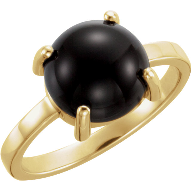 Contemporary 14 Karat Yellow Gold 6mm Round Onyx Cabochon Ring
