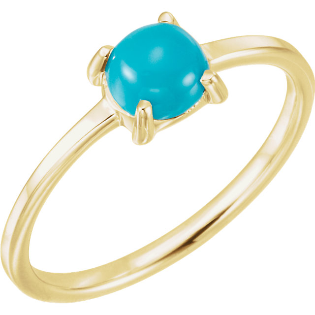 Surprise Her with  14 Karat Yellow Gold 6mm Round Turquoise Cabochon Ring
