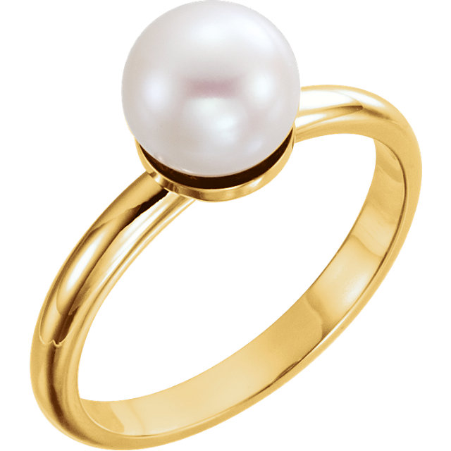 Perfect Jewelry Gift 14 Karat Yellow Gold 7.5-8mm Freshwater Cultured Pearl Ring