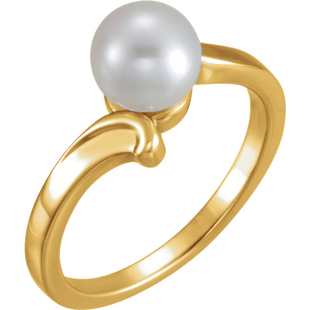 Genuine 14 KT Yellow Gold 7mm Solitaire Ring for Pearl