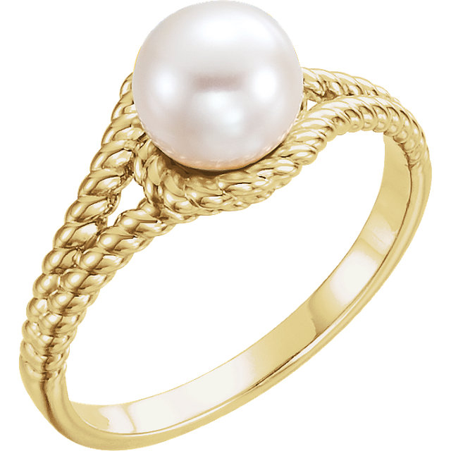 Fine 14 KT Yellow Gold 7mm White Freshwater Pearl Rope Ring