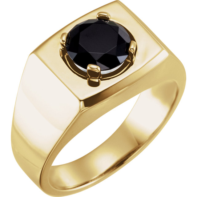 Chic 14 Karat Yellow Gold 8.2mm Round Onyx Men's Ring